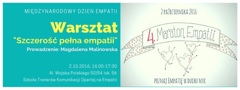 """Warsztat """"Szczerość pełna empatii"""" w ramach Maratonu Empatii"""